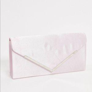 Satin Envelope Clutch Bag in Baby Pink